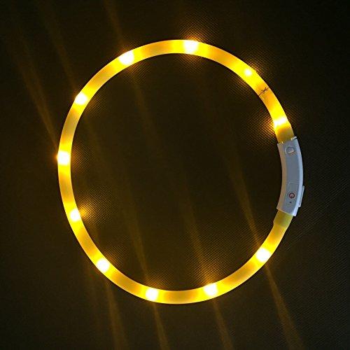 2-TECH LED Visio Leuchthalsband in GELB Deluxe für Hunde und Katzen universell kürzbar, Halsumfang bis 55 cm - 4