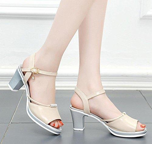 Sommer Sandalen weibliche hochhackige Sandalen rau mit offenen Sandalen Strass Beige