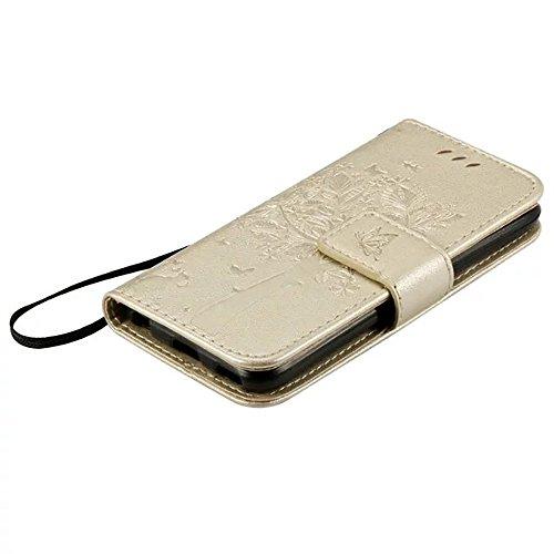 JIALUN-Telefon Fall Geprägte Blumen Katze und Baum Fall, Normallack PU-lederner Fall-Silikon-Abdeckungs-Mappen-Standplatz mit Handbügel für IPod Note 5 ( Color : Black , Size : IPod Touch 5 ) Gold