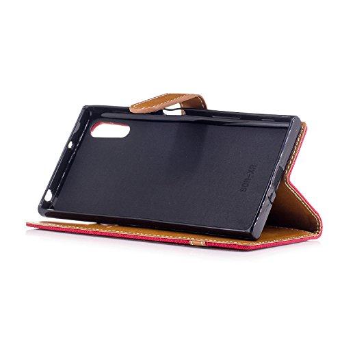 Custodia Xperia XZ, ISAKEN Flip Cover per Sony Xperia XZ/XZS con Strap, Elegante Bookstyle Contrasto Collare PU Pelle Case Cover Protettiva Flip Portafoglio Custodia Protezione Caso con Supporto di St Marrone+rossa