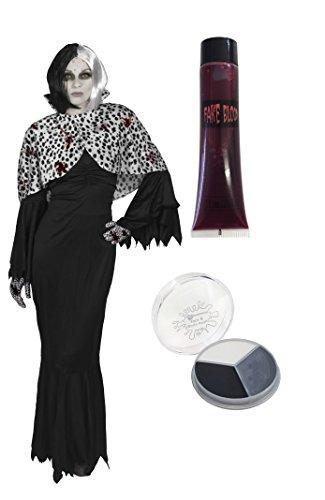 BÖSE DALMATINER HUNDE LADY CRUELLA HALLOWEEN STYLE = VON ILOVEFANCYDRESS - 5 TEILIGES KOSTÜM - ERHALTBAR IN 7 VERSCHIEDENEN GRÖßEN - BEINHALTET - SCHWARZ/WEISSE BOB PERÜCKE + EINEN CAPE IN (Dalmatiner Fancy Kostüme 101 Dress)