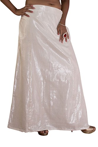 S.K. Textiles Cotton Shimmer SILVER Petticoat with Cotton Lining (DYEABLE IN ANY...