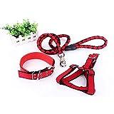 KoKoBin Verstellbar Hundeleine hundegeschirr mit Halsband Nylon geflochtenen Leine 3-er Pack(Rot)
