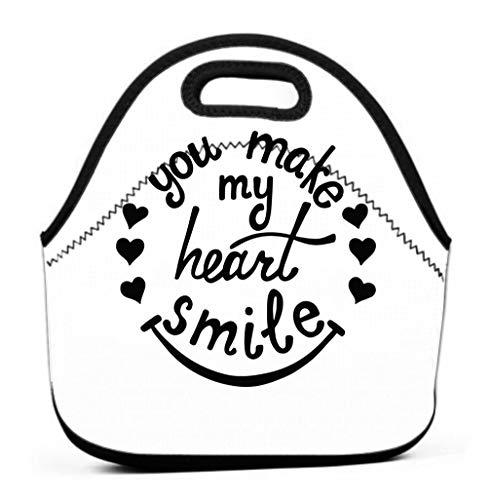 Lunch Tote Bag Cute Lunch Box Lunchbox Large Reusable Lunch Bag you make my heart smile lettering romantic quote love modern calligraphy phrase hearts valentine s day