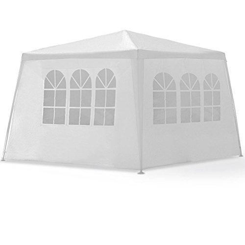 LARS360 3x4m Weiß Gartenpavillon Gartenzelt Bierzelt Pavillon Festzelt Strandzelt mit 4...