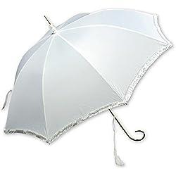 Paraguas novia blanco con mango dorado