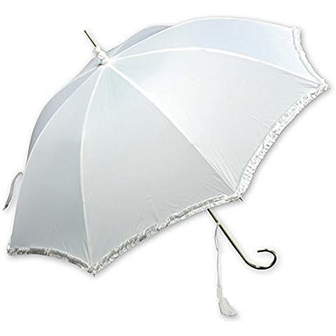 Paraguas novia blanco mango dorado