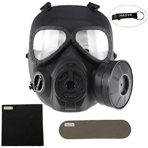 Masque facial tactique à gaz antibuée M04 avec turbo ventilateur airsoft et équipement de protection painttbal - haoYK, Noir - Porte-clés inclus