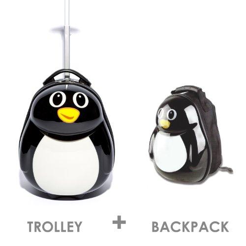 FERGÉ 1x Kinder-Trolley & 1x Rucksack Pinguin Kinder-Koffer Hartschale | Handgepäck-Koffer mit Rollen | Kinderkoffer PREMIUM-QUALITÄT