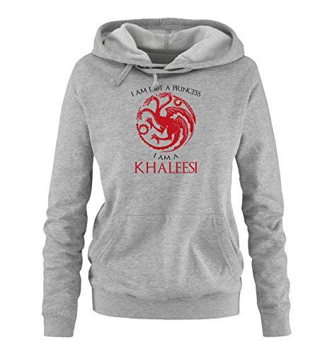 Just Style It - I'm not a Princess - I'm a Khaleesi - Game of Thrones - Damen Hoodie - Grau/Schwarz-Rot Gr. (Khaleesi Aus)