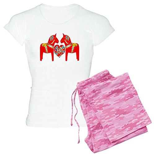 CafePress–Schwedische Dala Pferde Damen leichte Schlafanzüge–Damen Neuheit Baumwolle Pyjama Set, bequemen PJ Nachtwäsche Gr. XX-Large, With Pink Camo Pant (Stadt Hose Camo)