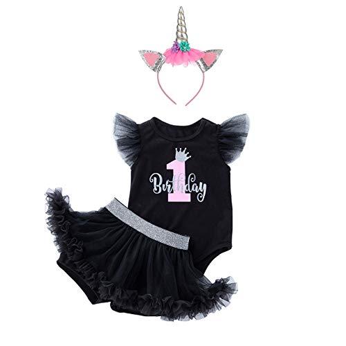 BabyPreg 1. Geburtstag Outfit Mädchen Tutu Rock (Skorts) Bodys Baby 1 Jahr altes Mädchen Geschenke (L für 12-18 Monate, Schwarz)