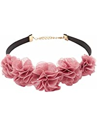 Evince MODE Stylish Pink Lace Flower Tassel Choker Collar Necklace For Women & Girls