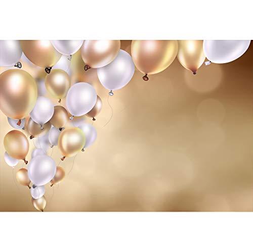 Cassisy 2,2x1,5m Vinyl Foto Hintergrund Geburtstagsfeier Dekor Gold Silber Ballons Gold Glitter Bokeh Wall Fotografie Hintergrund für Photo Booth Party Kinder Fotostudio Requisiten - Brief X Ballon