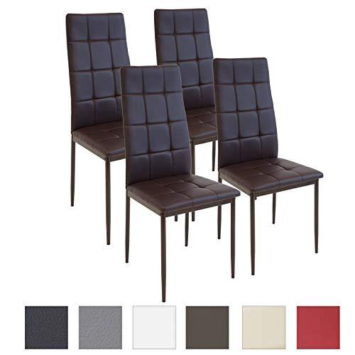 Albatros Silla Rimini, Set de 4 sillas, Marrón, certificada por la SGS, Silla de Comedor