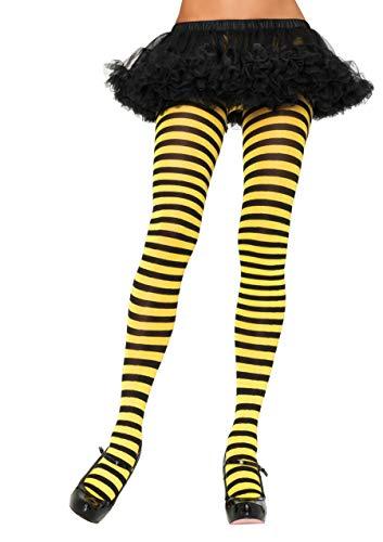 LEG AVENUE 7100 - Blickdichte Ringel-Strümpfhose Kostüm Damen Karneval, Einheitsgröße, schwarz/gelb -