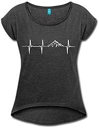 Spreadshirt Herzschlag Puls Frequenz Berge EKG Frauen T-Shirt mit gerollten Ärmeln von Spreadshirt174;