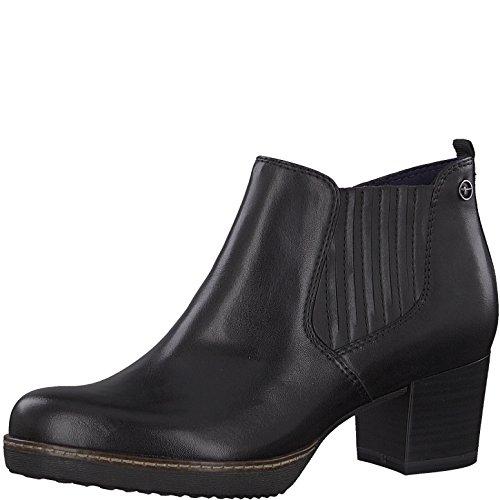 Tamaris Damen Chelsea Boots 25336-21,Frauen Stiefel,Halbstiefel,Stiefelette,Bootie,Reißverschluss,Blockabsatz 5.5cm,Black Leather,EU 41