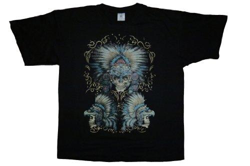 DarkArt-Designs Aztek Skull - Indianer Shirt für Herren - Aztekenmotiv Shirt Gothic Lifestyle regular fit Black