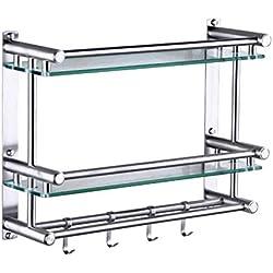 étagère porte-serviettes 2 niveaux tablettes de salle de bain panier de douche rangement pour le panier de baignoire acier inoxydable fixé au mur en verre trempé Homeself (Couleur: 2 nive