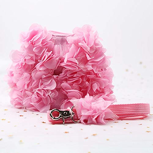Mouchao Pink Stereo Flower Harness Small Dog Haustier Leine und Leine Set Puppy Vest Pink Pink Stereo