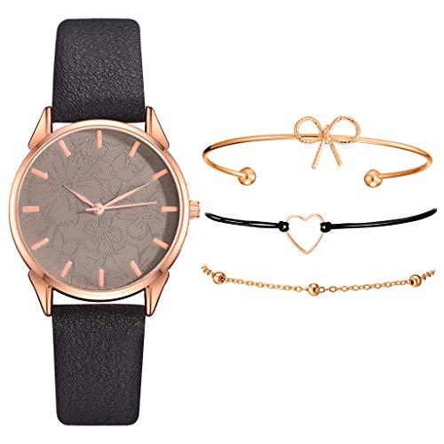 Armband Damen Uhr Set Anhänger Analog Quarzuhr mit PU Leder Schmuck Geschenk Set (C)