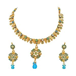 Surat Diamonds Blue coloured Stone & Gold Plated Bridal Necklace & Earring Set for Women (PS124)