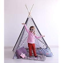 Kiddus Tienda Tipi Juego simbólico decoración habitación Infantil niños Blanco y Gris ...