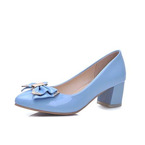 AllhqFashion Damen Ziehen auf Lackleder Rein Mittler Absatz Pumps Schuhe, Himmelblau, 38