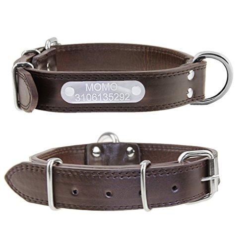 Hundehalsband mit Name Gravur Personalisierte Hunde Haustier Echtes Leder Halsband Haustiername und Telefonnummer Marke Braun
