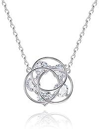 Eg /_ Schmuck 925 Versilbert Kristall Perle Anhänger Halskette Damen Geschenk St