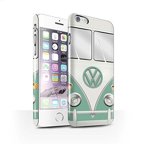 STUFF4 Glanz Snap-On Hülle / Case für Apple iPhone 6 / Mango Grün Muster / Retro T1 Wohnmobil Bus Kollektion Türkisgrün