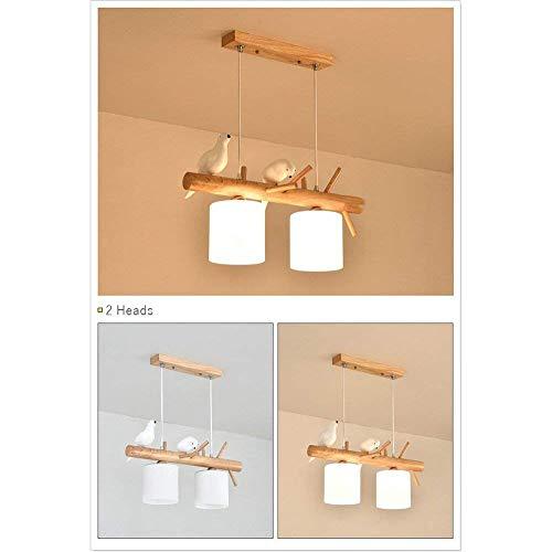 Oli Kronleuchter 3 der Leiter der Nordischen Länder Moderne Holz Eiche Einfache Pendelleuchten Vogel Hängenden Holz Esszimmer Lampen Restaurant E 27 Pendelleuchte,3 Köpfe