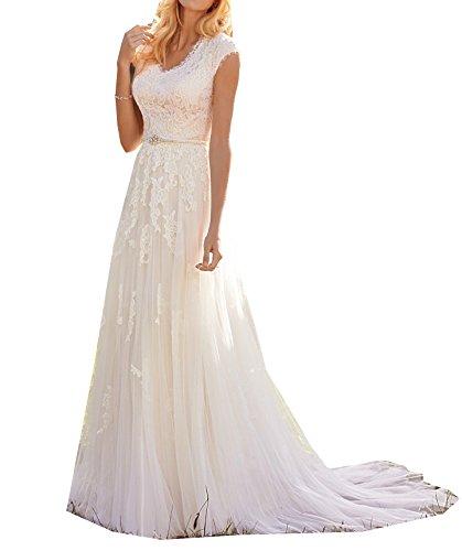 Modest Country Brautkleider 2018 White Lace Applizierte Tüll Vintage Brautkleid