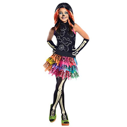 Monster High Skelita Calaveras Gr. L (8-10 Jahre) Fasching Karneval Kostüm Kinderkostüm Mottoparty Kleid Boo York (Skelita Calaveras Kind Perücke)