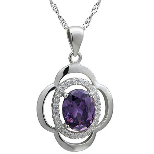 Epinki 925 Sterling Silber Damen Halskette, Blumen Oval Form Anhänger Statementkette Poliert Silberkette Lila 2.2x1.7 CM mit Zirkonia -