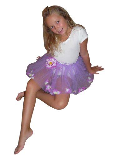 Lilafarbener Rock mit innenliegenden Blüten - ideal für Prinzessinnen, Elfen und Feen und allerlei andere kreative Kostümideen. Für die Größen 98-116. Li10