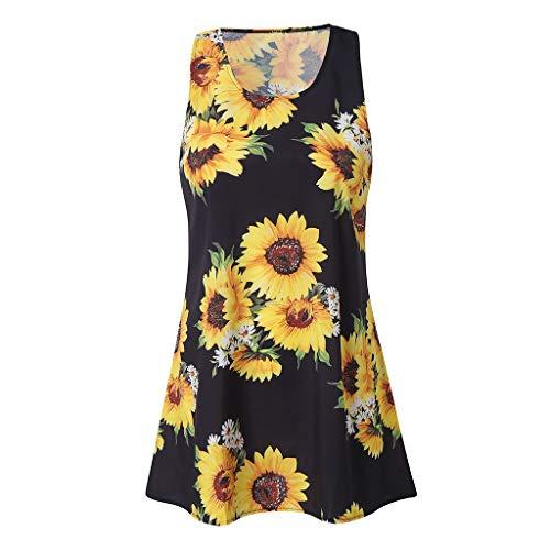 Haludock Vintage Boho Damen Sommer Sleeveless Oansatz Strand Sun Flowers Printed Short Mini Dress