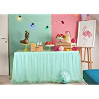 Jiaxingo Tulle Table Skirt 6ft Fluffy Table Skirt Rectangle or Round Tutu Table Cloth for Birthday Party Baby Shower Decorations Wedding Favors Decor Supplies, mint green