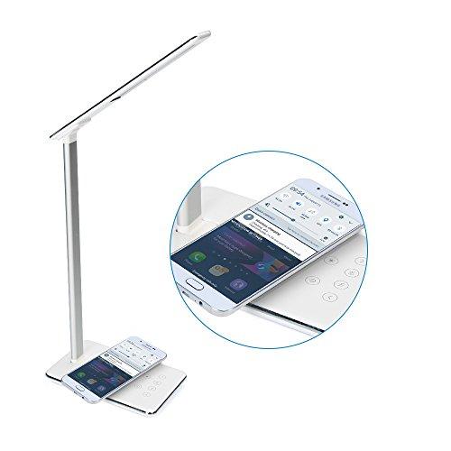 Xinxin-star Qi Wireless-Ladegerät, Schreibtischlampe Wireless Charging Lamp mit USB-Ladeanschluss, Touch-Steuerung, 4 Farbmodi, Nachtlicht (Weiß)