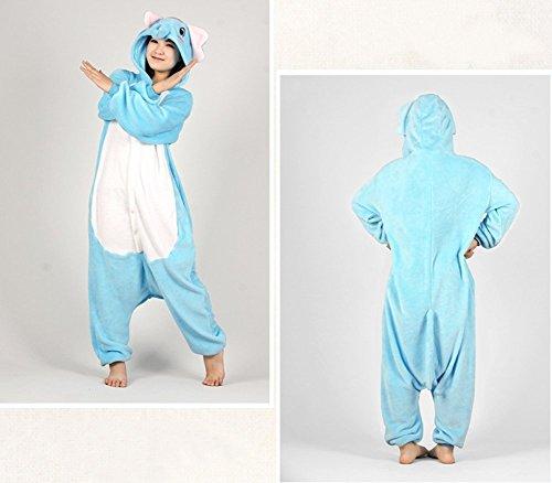 Imagen de abyed kigurumi pijamas unisexo adulto traje disfraz adulto animal pyjamas,azul elefante adulto talla xl para altura 175 183cm alternativa