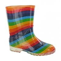 Cotswold Girls PVC Kids Multi Rainbow Colour Wellington Boot