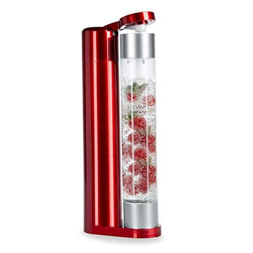 Levivo Wassersprudler Fruit & Fun Sprudler Slim, mit 1-Liter-Sprudlerflasche, Kohlensäure für Wasser, Cocktails und andere Getränke, Farbe rot und silber