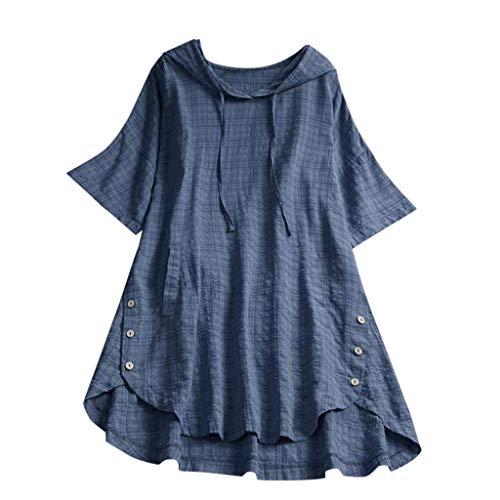 QIMANZI Übergröße Damen Lange Ärmel Kaftan Ausgebeult Taste Bettwäsche aus BaumwolleTunika Bluse(Blau,2XL) - Bio-baumwolle Cami
