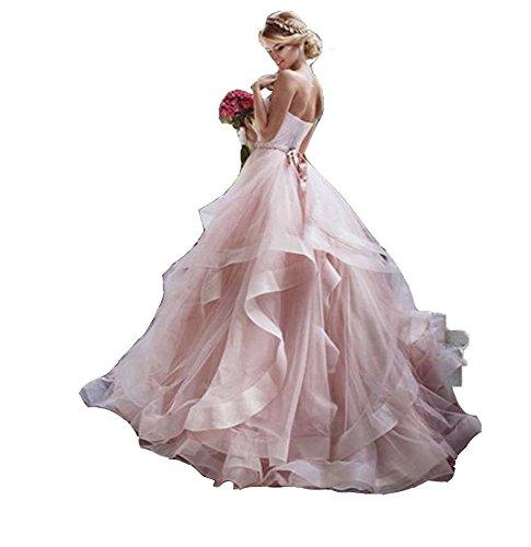 NUOJIA Trägerlos Hochzeitskleider Prinzessin Lange Organza Brautkleider Rosa ()
