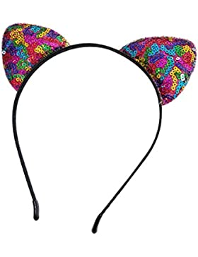 joyliveCY Venda de lentejuelas de doble cara Orejas de gato Aro de pelo reversible Niñas Mujeres Headwear