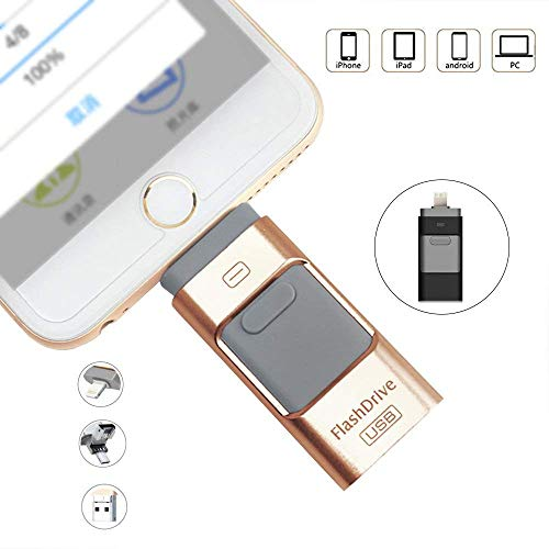 LIGHTOP Flash Laufwerk 8GB Mit Dateiverschlüsselung Fingerabdruck entsperren Flash Drive Expansion Memory Stick 3 in1 USB Stick Externer Speicherstick Lighting USB 3.0/Micro USB für Android Handy PC -