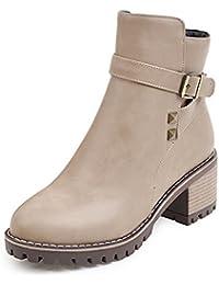 Aisun Femme Fashion Rivets Boucle Lanière Low Boots Chunky Bottines ab7a303aef6a