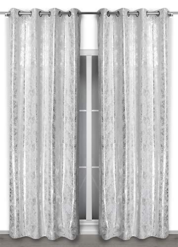 BEAUTEX Vorhang mit Ösen 140x260 cm (Farbe Wählbar) Blickdicht verdunkelung Gardine, Stardust (Weiß/Silber)