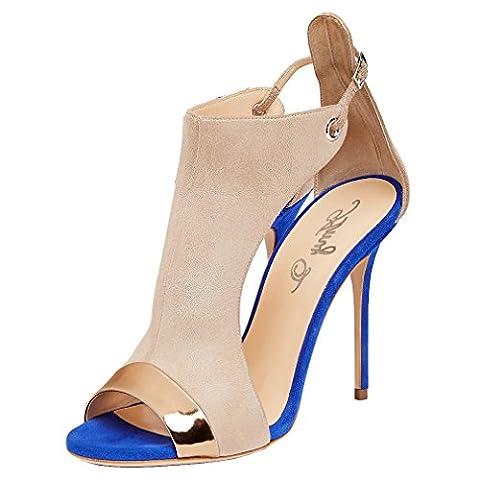ENMAYER Femmes Beige PU Matériel Peep Toe avec Boucle Two-Piece Sandales Suede Talons hauts Chaussures Ladies Summer Pumps UK 4.5 B(M)